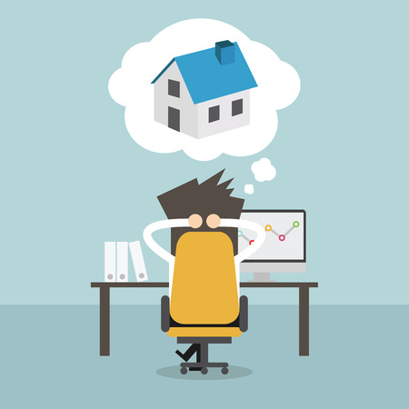residual income: Businessman dreaming about house. Vector Illustration