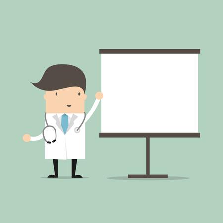 Doctor on presentation. vector