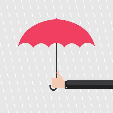 sotto la pioggia: Mano di uomo che tiene ombrello sotto la pioggia. Vettoriali