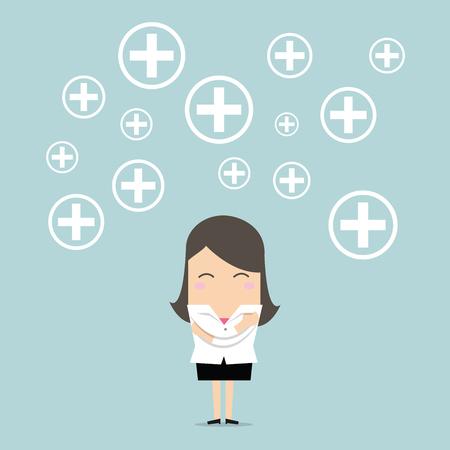 Businesswoman Positive thinking. vector Illustration