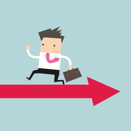 rebound: Businessman running opposite arrow way. vector