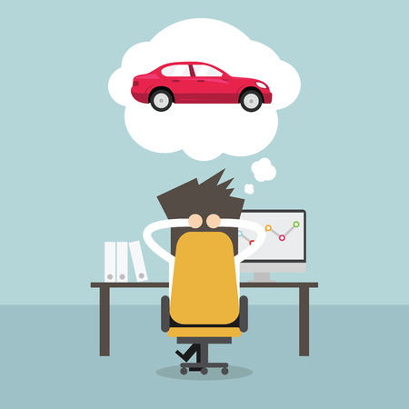 relaxar: Empresário sonhando com carro novo. Vetor