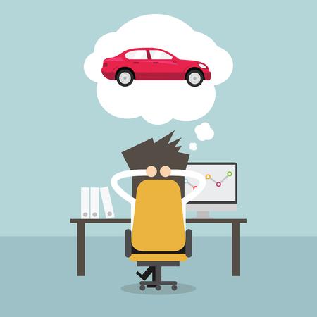 Geschäftsmann über neue Auto träumen. Vektor Illustration