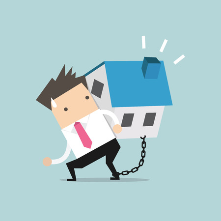 repossession: Businessman carry his house debt with chained on ankle. Financial concept vector.