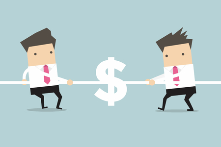 tug of war: Businessmen playing tug of war with dollar sign. vector
