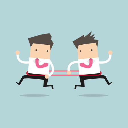 notion: Businessmen are running to the opposite direction from each other. vector