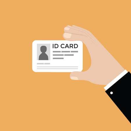 Businessman hand holding the id card. vector