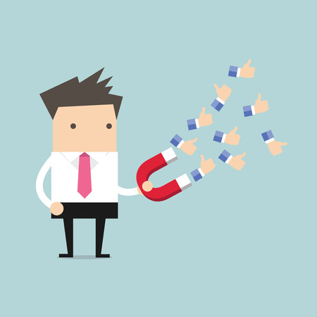 attract: Businessman using huge magnet attract a lot of positive feedback. vector