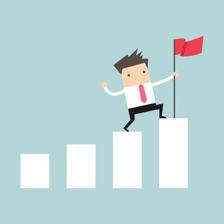 high spirits: Businessman holding a flag on top the graph. vector