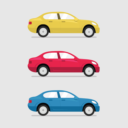 frontal view: Cars side view. Vector flat illustration set