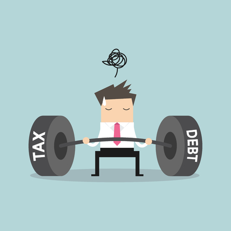 heavy: Businessman confuse with heavy tax & debt. vector Illustration