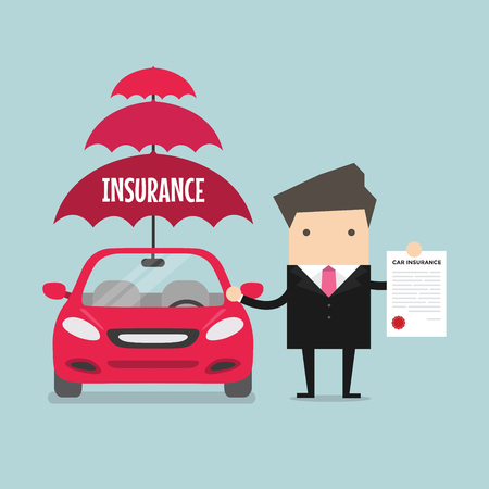 ビジネスマンは、保険車を見せます。ベクトル  イラスト・ベクター素材