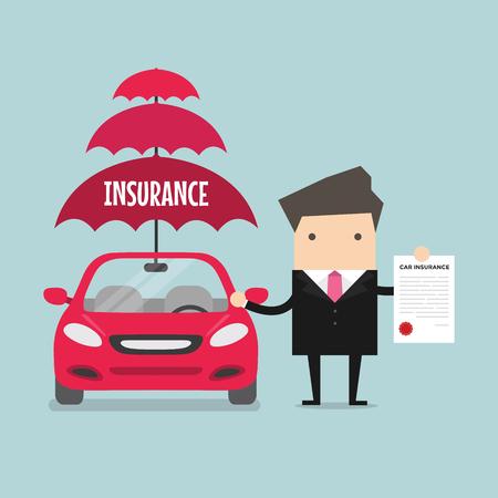 Biznesmen ubezpieczenia pokaz samochodów. wektor