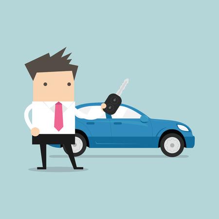 Businessman holding a key of a new car. vector
