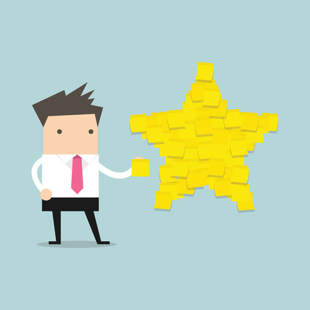 commendation: Businessman with star shape yellow sticky notes. vector