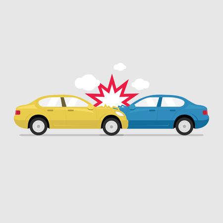 Accident road on street damaged automobiles after collision car crash vector. Illustration