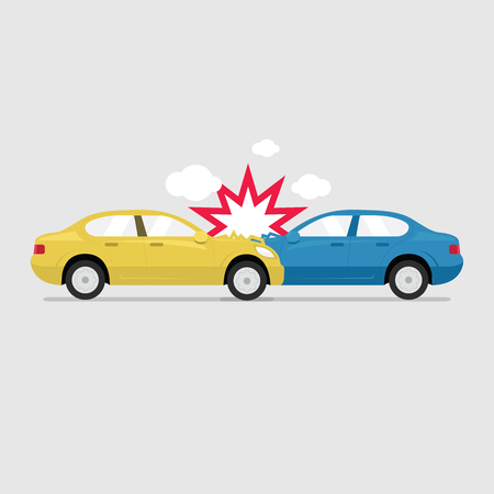 Accident road on street damaged automobiles after collision car crash vector. Stock Illustratie