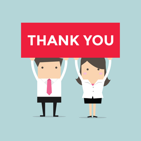thank you sign: Businessman and Businesswoman holding thank you sign. vector Illustration