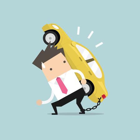 carga: El hombre de negocios lleva su deuda coche con encadenada en el tobillo. vector de concepto financiero. Vectores