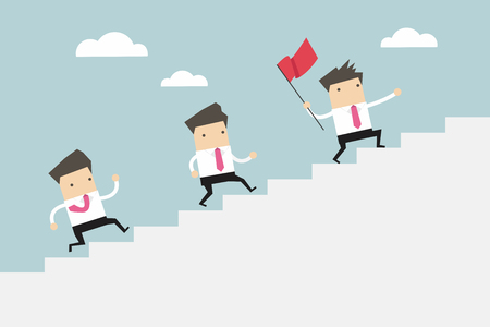 high spirits: Businessman leading a team up stair to success. vector