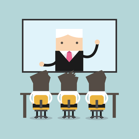 Businessmen sitting on chair, boss speaking from digital flat screen. Video conference flat vector. Stock Illustratie