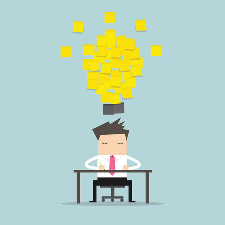 Businessman working with yellow stick note light bulb idea. vector Illustration