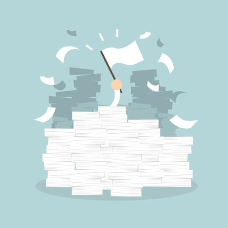 Businessman hand with white flag. Office desk loaded of paperwork , invoices and a lot of papers, documents. vector