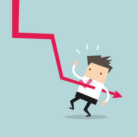 broach: Down graph fall to Businessman. vector