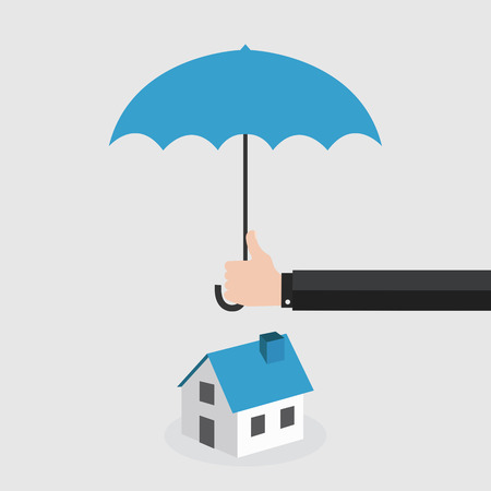 Agents hand holding umbrella over house