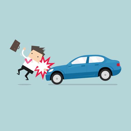 El hombre de negocios a punto de ser atropellado por un coche, la seguridad vial. vector Ilustración de vector
