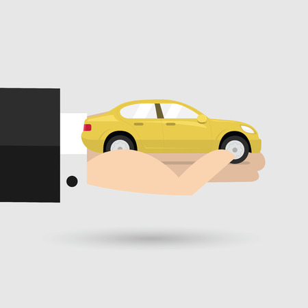 Yellow car in businessman hand. vector