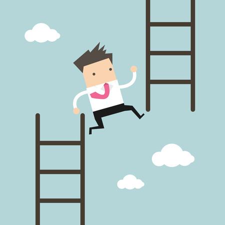Homme d'affaires sauter de bas escalier à haute marche. vecteur
