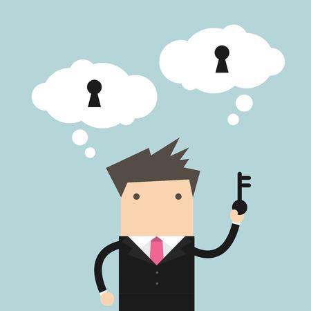 opt: Businessman holding key for unlock the idea. vector Illustration