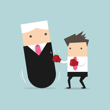 tumbler: Businessman punching boss tumbler doll. vector