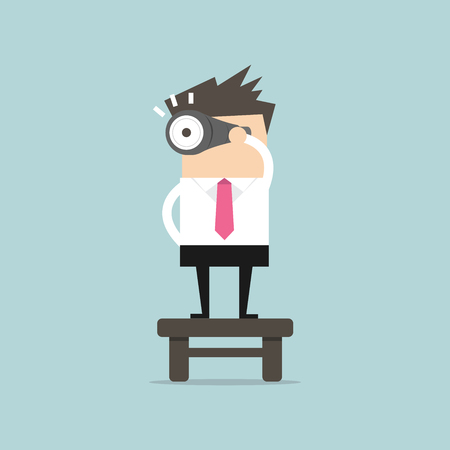 Businessman with binoculars,vision concept. vector