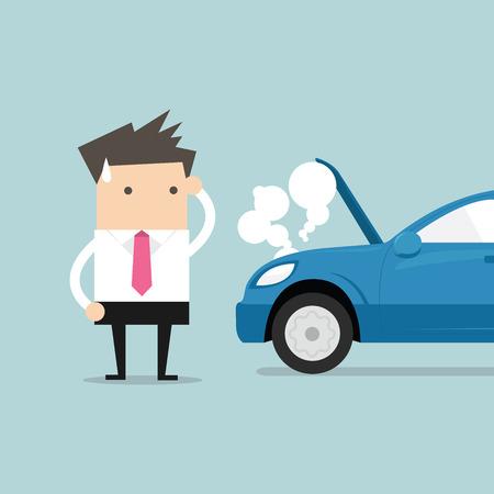 inconvenient: Businessman have a force majeure, a car broke down. vector