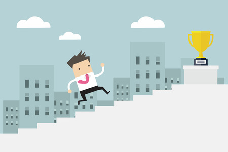 Businessman running up stairs, concept business man win price flat vector illustration