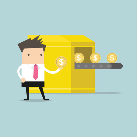 Businessman with Money making machine. vector