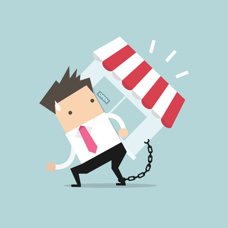 repossession: Businessman carry his shop debt with chained on ankle. Financial concept vector.