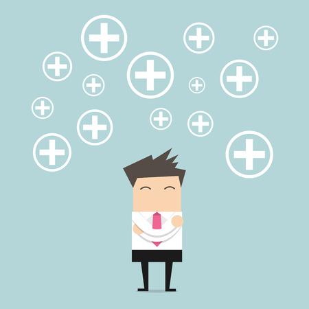 actitud: El hombre de negocios El pensamiento positivo. vector Vectores