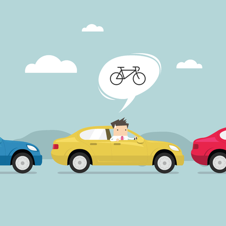 Businessman on the road with traffic jam, Thought to work by bike better. vector