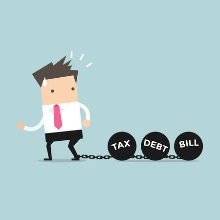 burden: Businessman dragging chains and big ball, Debt Tax and Bill burden concept. vector