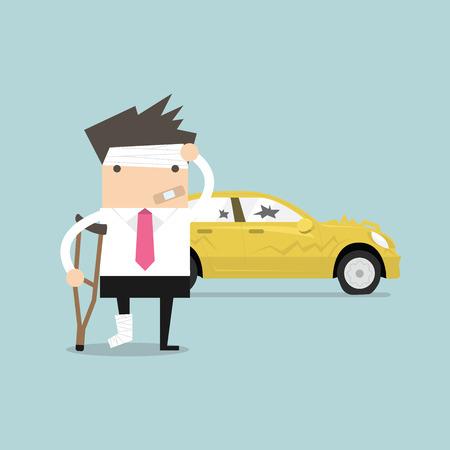 Biznesmen jest rannych w wypadku samochodowym wektora