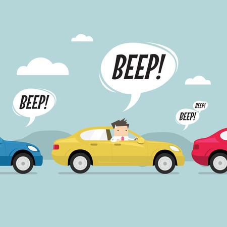 mermelada: El hombre de negocios en el camino con atasco de tráfico, toque la bocina un cuerno. vector