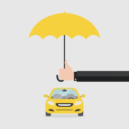 車を保護する傘を持つ手の保険会社。安全コンセプト車。保険車.フラット スタイル、ベクトル。