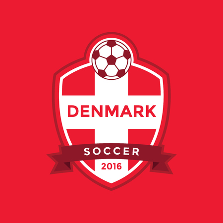 kickball: Denmark soccer team with flag. vector