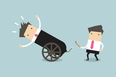 shortcuts: Businessman in cannon, shortcuts to success, business team concept. vector