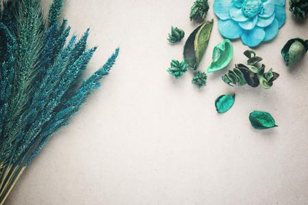 Dried flowers on cardboard background. vintage filter color
