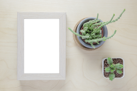 Cactus in pot and blank photo frame on wooden table. Top view Imagens