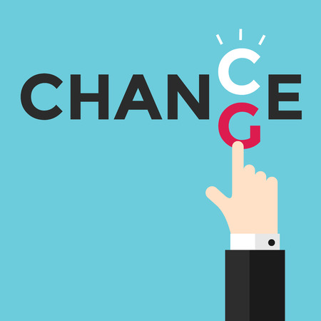 Change and chance. Hand changing letters C and G. vector